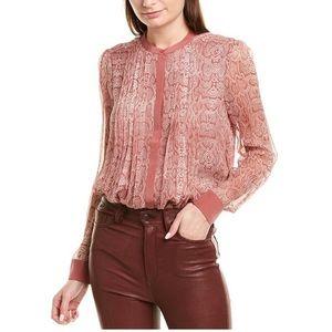 Joie Tassa Silk Snakeskin Print Blouse Small Pink